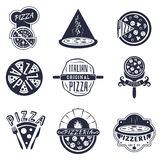 Vintage pizzeria labels, logos and emblems vector Royalty Free Stock Photo
