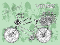 Vintage placard with bicycle and flowers Royalty Free Stock Images