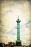 Vintage Place de la Bastille在巴黎 图库摄影