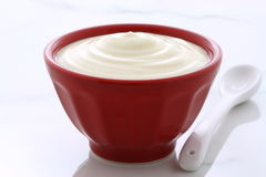 Vintage plain yogurt Royalty Free Stock Image