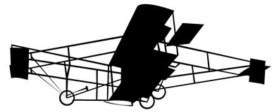 Vintage plane. Silhouette on white  background;  illustration Royalty Free Stock Photography