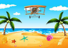 A vintage plane at the beach. Illustration of a vintage plane at the beach Royalty Free Stock Photo