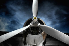 Vintage Plane Engine Aircraft Propeller in Storm Stock Photography