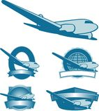 Vintage Plane Labels. Collection of vintage airplane label illustrations featuring a DC3 Stock Photos
