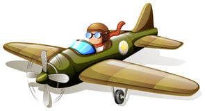 A vintage plane with a pilot. Illustration of a vintage plane with a pilot on a white background Royalty Free Stock Photo