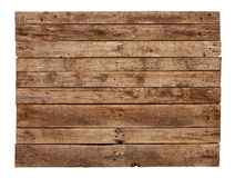 Vintage planked wood sign board isolated on white Stock Image