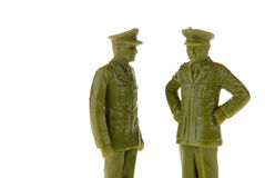Vintage plastic Army Soldier. Vintage plastic Generals, toy soldier isolated on white royalty free stock image