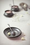 Vintage plate and spoon Royalty Free Stock Images
