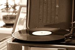 The vintage player of vinyl records. With a retro toning Royalty Free Stock Photo