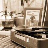 The vintage player of vinyl records. With a retro toning Royalty Free Stock Image
