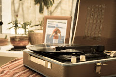 The vintage player of vinyl records. With a retro toning Stock Photo