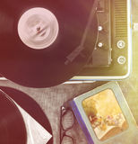 The vintage player of vinyl records Royalty Free Stock Images