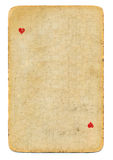 Vintage playing card ace of hearts used paper background isolated Royalty Free Stock Image