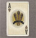 Vintage playing card vector illustration of the ace of clubs. Wornout playing card vector illustration of the ace of clubs Stock Image
