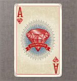 Vintage playing card vector illustration of the ace of diamonds Stock Images