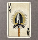 Vintage playing card vector illustration of the ace of spades Stock Images