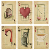 Vintage playing cards. Magic Playing Cards Alice in Wonderland, drawn by the use of textures in a graphics editor Stock Photos