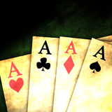 Vintage playing cards. Old playing cards on a dark background Stock Photo