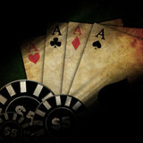 Vintage playing cards. Old playing cards on a dark background Royalty Free Stock Photos