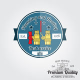 Vintage plumbing service badge, banner or logo emblem.  Stock Photo
