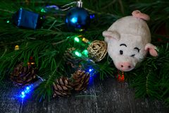 Vintage plush pig - a symbol of the New Year holidays next to th stock photo