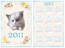 Vintage pocket calendar 2011. With kitten. 70 x105 mm Royalty Free Stock Images