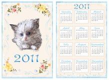 Vintage pocket calendar 2011. With kitten. 70 x105 mm royalty free illustration