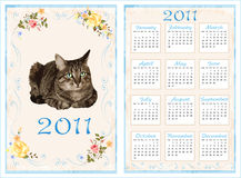 Vintage pocket calendar 2011. 70 x105 mm. Vintage pocket calendar 2011 with cat. 70 x105 mm Royalty Free Stock Photo