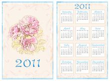 Vintage pocket calendar 2011. 70 x105 mm. Vintage pocket calendar 2011 with roses. 70 x105 mm Royalty Free Stock Photo