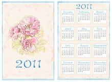 Vintage pocket calendar 2011. 70 x105 mm Royalty Free Stock Photo