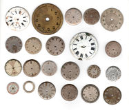 Vintage pocket watch. Many vintage pocket watch dial only over white background stock photo