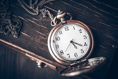 Vintage pocket watch.   on chain royalty free stock photo