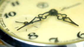 Vintage pocket watch. Antique clock dial close-up. Macro closeup vintage clock stock video