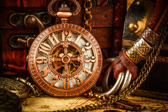 Vintage pocket watch. Vintage Antique pocket watch. Vintage grunge still life stock photography