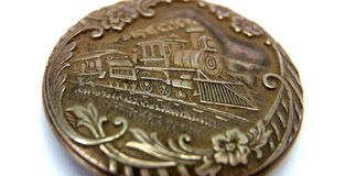 Vintage pocket watch with  basrelief of old train Stock Photos