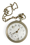 Vintage pocket watch. With chain on white stock images