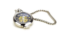 Vintage pocket watch. With chain in a white background Stock Photos