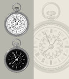 Vintage pocket watch - clock vector illustration. Vintage retro pocket watch - clock face vector illustration. Highly detailed engraving style Stock Photos