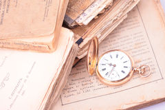 Vintage pocket watch closeup Stock Photos