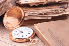 Vintage pocket watch closeup Stock Photography