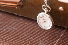 Vintage pocket watch closeup on a leather suitcase stock image