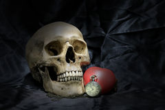Vintage pocket watch with heart and human skull on black background, Concept love and time, still life photography. stock photography