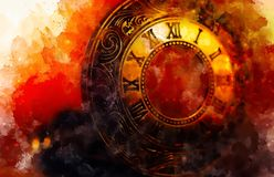 Vintage pocket watch and softly blurred watercolor background. stock illustration