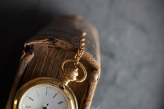 Vintage pocket watch old book Royalty Free Stock Photo