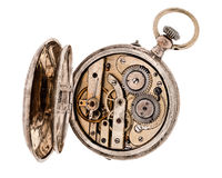 Vintage pocket watch with open rear lid. Vintage pocket watch with open rear lid isolated on white background Royalty Free Stock Photo