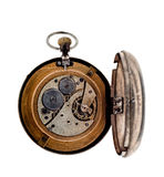 Vintage pocket watch with open rear lid. Stock Images