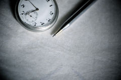 Vintage Pocket Watch With Pen Stock Photos