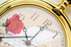 Vintage pocket watch with red rose Royalty Free Stock Image