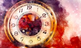 Vintage pocket watch and softly blurred watercolor background. vector illustration