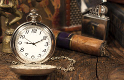 Vintage pocket watch. Still life with vintage pocket watch stock photos